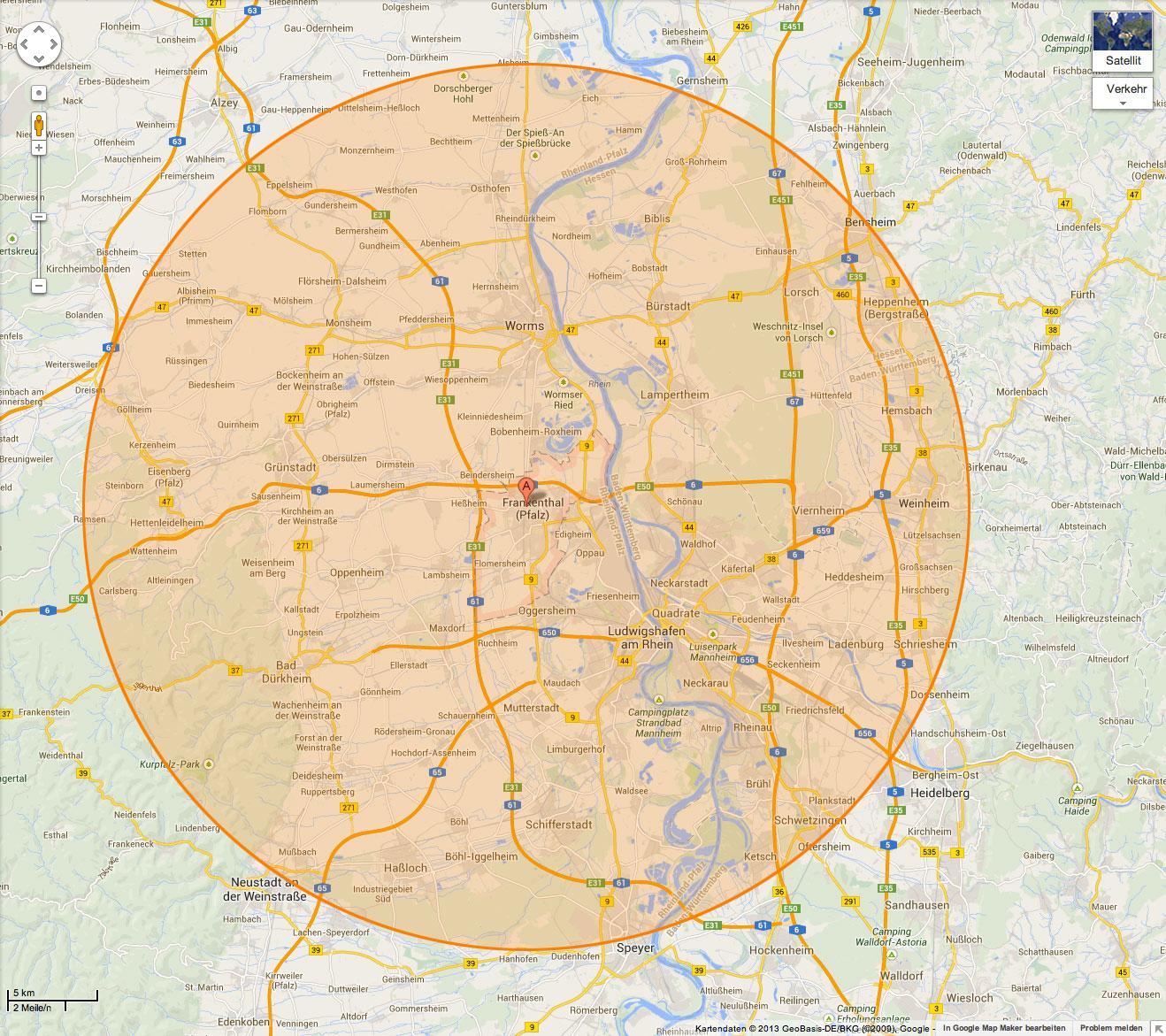 Karte des Musicant Lieferservice bis ins Haus
